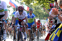 Peloton and Grega Bole (Slovenia) during the Men's Elite Road Race at the UCI Road World Championships on September 25, 2011 in Copenhagen, Denmark. (Photo by Marjan Kelner / Sportida Photo Agency)