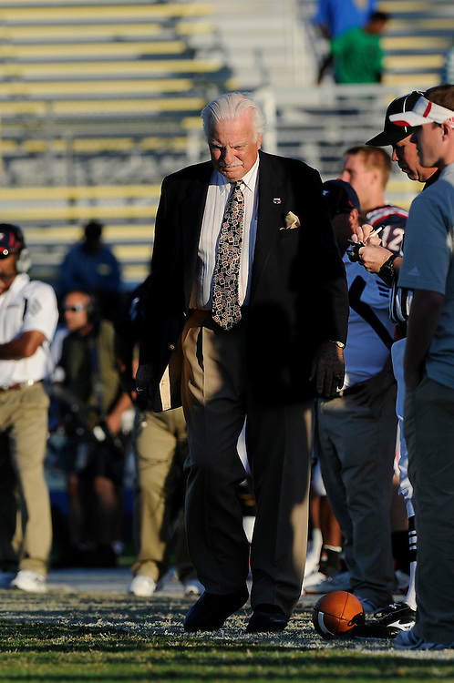 December 4, 2010: Head coach Howard Schnellenberger of the Florida Atlantic Owls loooks at the field dejectedly during the NCAA football game between the Troy Trojans and FAU. The Trojans defeated the Owls 44-7.