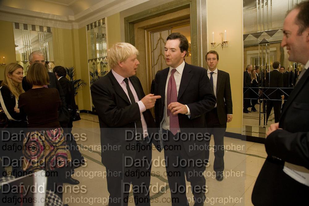 BORIS JOHNSON; GEORGE OSBORNE, Spectator Parliamentarian Of The Year Awards<br />Claridge's Hotel, Brook Street. London. 13 November 2008 *** Local Caption *** -DO NOT ARCHIVE-© Copyright Photograph by Dafydd Jones. 248 Clapham Rd. London SW9 0PZ. Tel 0207 820 0771. www.dafjones.com.