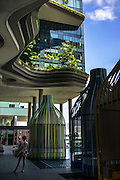 A part of the 300-meter-long garden strip on the fifth floor of the Parkroyal hotel which claims to have a total foliage cover that constitutes more than 200% of the structure's total land area, effectively using vertical greenery to replace the original greenery that was lost to build the hotel. The 12-storey-high tower features massive curvaceous, solar-powered sky-gardens which overlook the city park in the central business district of Singapore.<br />  Photo by Suzanne Lee/Panos Pictures