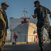 WEDNESDAY, OCTOBER 4- 2017--- - SAN JUAN, PUERTO RICO - <br /> US NAVY personnel guard access to  the US Naval Hospital Ship Comfort at the Port of San Juan where it started treating patients affected by Hurricane Maria.<br /> (Photo by Angel Valentin for NPR)