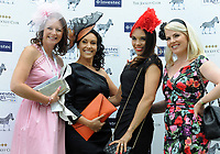 Flat Horse Racing - 2019 Investec Derby Festival - Friday, Day One (Ladies Day)<br /> <br /> Ladies with hats at Epsom Racecourse.<br /> <br /> COLORSPORT/ANDREW COWIE