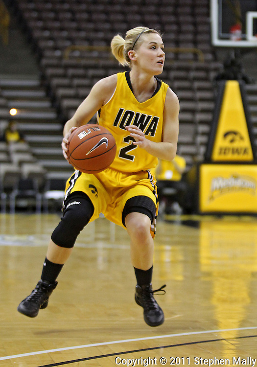 February 10 2011: Iowa Hawkeyes guard Kamille Wahlin (2) with the ball during the first half of an NCAA women's college basketball game at Carver-Hawkeye Arena in Iowa City, Iowa on February 10, 2011. Iowa defeated Minnesota 64-62.