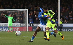 Ivan Toney of Peterborough United in action with Jason Lowe of Bolton Wanderers - Mandatory by-line: Joe Dent/JMP - 14/12/2019 - FOOTBALL - Weston Homes Stadium - Peterborough, England - Peterborough United v Bolton Wanderers - Sky Bet League One