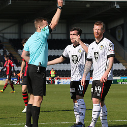 Adam Eckersley gets himself in the refs book  during the St Mirren v Dumbarton Scottish Championship 08 April 2017<br /> <br /> <br /> <br /> <br /> <br /> (c) Andy Scott | SportPix.org.uk