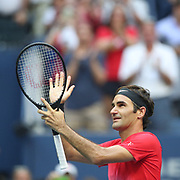 2017 U.S. Open Tennis Tournament - DAY FOUR. Roger Federer of Switzerland celebrates his victory against Mikhail Youzhny of Russia during the Men's Singles round two match at the US Open Tennis Tournament at the USTA Billie Jean King National Tennis Center on August 31, 2017 in Flushing, Queens, New York City. (Photo by Tim Clayton/Corbis via Getty Images)