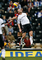 Photo: Steve Bond/Sportsbeat Images.<br /> Derby County v Blackburn Rovers. The FA Barclays Premiership. 30/12/2007. Steve Howard (front) attempts to outjump Ryan Nelson (back)