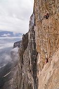 Tim Emmett ascending fixed lines, Monte Brento