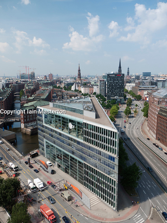 Aerial view of modern architecture of office building in Hafencity development in Hamburg Germany