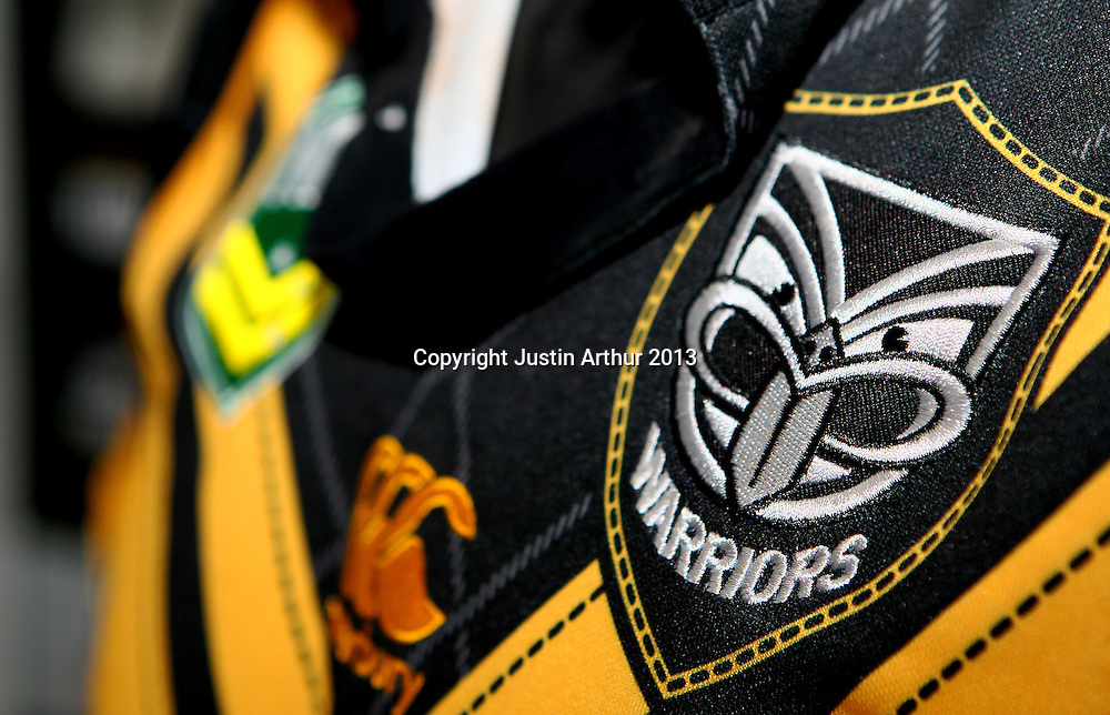 The Jersey the Vodafone Warriors will be wearing in Wellington - Vodafone Warriors hold a press conference in Wellington ahead of their clash with the Bulldogs on Saturday 11 May 2013. Westpac Stadium, Wellington, New Zealand on 20 March 2013. Photo: Justin Arthur / photosport.co.nz