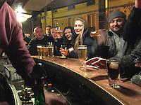 Polish friends at a Paris bar