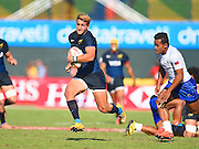 Argentina's Segundo Tuculet  finds some space to run during the Emirates Dubai rugby sevens match between Argentina  and Samoa  at the Sevens Stadium, Al Ain Road, United Arab Emirates on 3 December 2016. Photo by Ian  Muir.*** during the Emirates Dubai rugby sevens match between *** and *** at the Sevens Stadium, Al Ain Road, United Arab Emirates on 3 December 2016. Photo by Ian  Muir.
