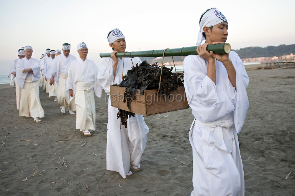 A box filled with seaweed is carried by priests on the sands of Yuhigahama beach as they make their way back to the Tsurugaoka Hachimangu shrine grounds 2 km away during a purification ritual known as hamaorisai at the start of the 3-day Reitaisai festival in Kamakura, Japan on  14 Sept. 2012.  As a symbol of the purification, priests collect the seaweed from the sea and take it back to the shrine, hanging pieces around the shrine grounds to appease the gods. Photographer: Robert Gilhooly.