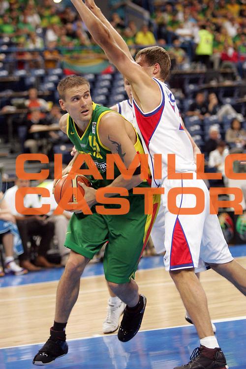 DESCRIZIONE : Belgrado Belgrade Eurobasket Men 2005 Lituania-Russia<br /> GIOCATORE : Javtokas<br /> SQUADRA : Lituania Lithuania<br /> EVENTO : Eurobasket Men 2005 Campionati Europei Uomini 2005<br /> GARA : Lituania Russia Lithuania Russia<br /> DATA : 23/09/2005<br /> CATEGORIA :<br /> SPORT : Pallacanestro<br /> AUTORE : Ciamillo&amp;Castoria/Fiba Europe Pool