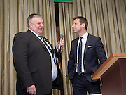 Neil McCann takes part in a question and answer session with Dens stadium announcer Stewart Brand as the former Dundee winger is inducted into Dundee FC Hall of Fame 2016 - at the Invercarse Hotel<br /> <br />  - &copy; David Young - www.davidyoungphoto.co.uk - email: davidyoungphoto@gmail.com
