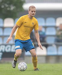 FODBOLD: Stefan Fjeldsted Jensen (Ølstykke FC) under kampen i DBU Pokalens Indledende runde mellem Ølstykke FC og Lundtofte Boldklub den 21. maj 2019 på Ølstykke Stadion. Foto: Claus Birch