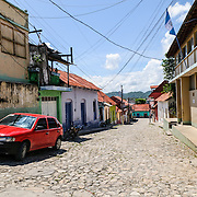 The cobbleston streets of Flores, a tiny island in Lake Peten Itza in northern Guatemala. The island is connected to the mainland by a single bridge.