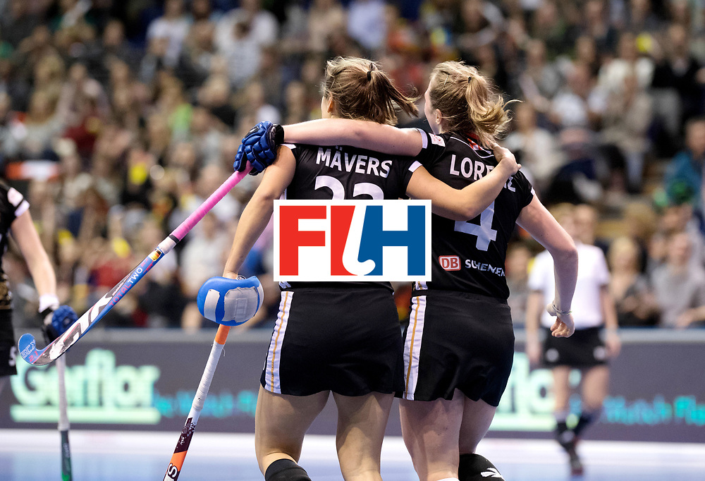 BERLIN - Indoor Hockey World Cup<br /> Quarterfinal 3: Germany - Poland<br /> foto: Marie M&auml;vers and Nike Lorenz.<br /> WORLDSPORTPICS COPYRIGHT FRANK UIJLENBROEK