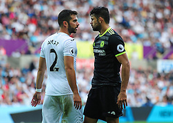 Jordi Amat of Swansea City squares up to Diego Costa of Chelsea - Mandatory byline: Alex James/JMP - 07966386802 - 11/09/2016 - FOOTBALL - Barclays premier league -swansea,Wales - Swansea v Chelsea  -