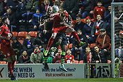 Forest Green Rovers Farrend Rawson(6) goes up to head the ball during the EFL Sky Bet League 2 match between Leyton Orient and Forest Green Rovers at the Matchroom Stadium, London, England on 23 November 2019.