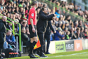 Forest Green Rovers head coach, Mark Cooper shouts instructions during the EFL Sky Bet League 2 match between Forest Green Rovers and Plymouth Argyle at the New Lawn, Forest Green, United Kingdom on 16 November 2019.
