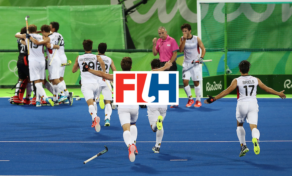 RIO DE JANEIRO, BRAZIL - AUGUST 16:  Belgium celebrate their 3-1 victory during the Men's semi final hockey match between Belgium and the Netherlands on Day 11 of the Rio 2016 Olympic Games held at the Olympic Hockey Centre on August 16, 2016 in Rio de Janeiro, Brazil.  (Photo by David Rogers/Getty Images)