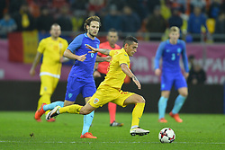 November 14, 2017 - Bucharest, Romania - Nicolae Stanciu (Rom) v Daley Blind (Ned) during International Friendly match between Romania and Netherlands at National Arena Stadium in Bucharest, Romania, on 14 november 2017. (Credit Image: © Alex Nicodim/NurPhoto via ZUMA Press)