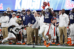 Auburn Tigers wide receiver Darius Slayton (81) makes a catch during the 2018 Chick-fil-A Peach Bowl NCAA football game against the UCF Knights on Monday, January 1, 2018 in Atlanta. (Paul Abell / Abell Images for the Chick-fil-A Peach Bowl)