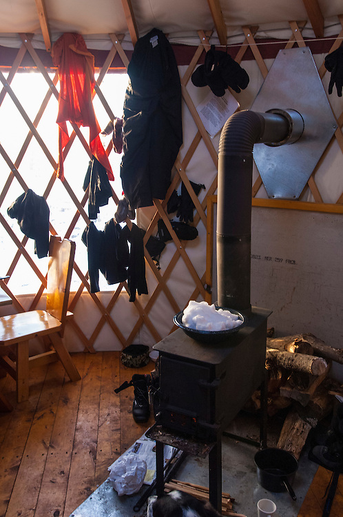Interior of the West Vista yurt at Porcupine Mountains State Park in Michigan.