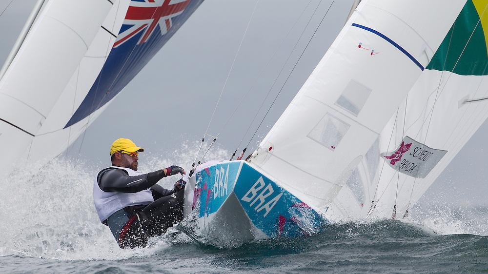 ENGLAND, Weymouth. 31st July 2012. Olympic Games. Star Class. Bruno Prada (BRA) Crew.