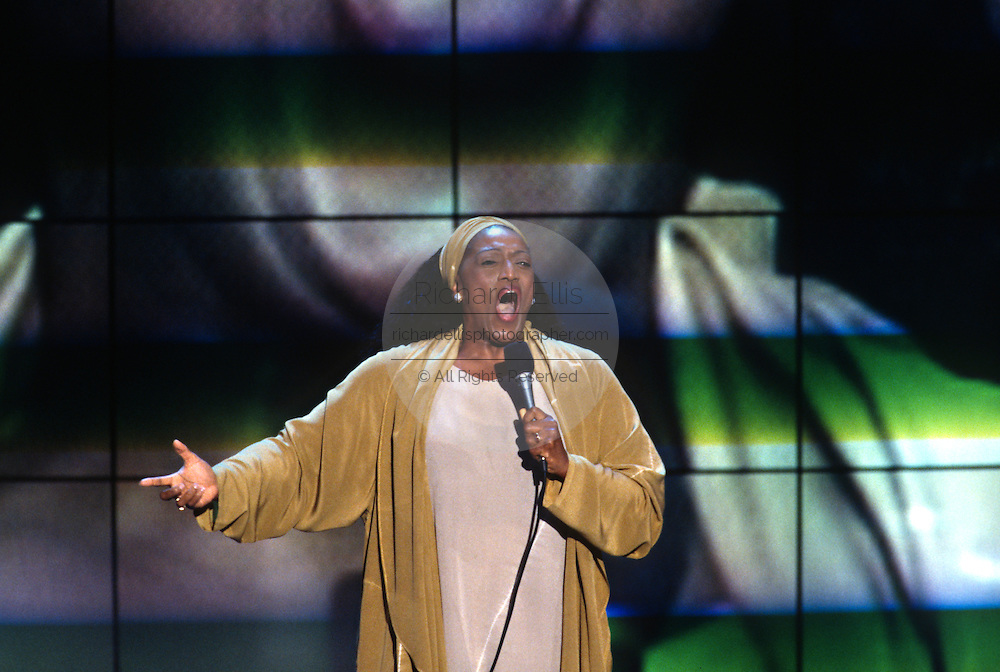 Opera diva Jesse Norman sings the national anthem at the 1996 Democratic National Convention August 29, 1996 in Chicago, IL.