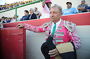 BEA AHBECK/NEWS-SENTINEL<br /> Mario Teixeira looks out over the ring after being honored as he retires from bullfighting during the bloodless bullfight during the Our Lady of Fatima Portuguese Festival in Thornton Saturday, Oct. 14, 2017.