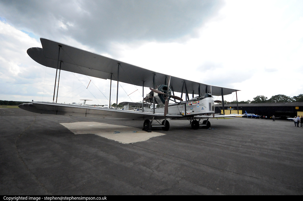 """British aviators Alcock and Brown made the first non-stop Transatlantic flight in June 1919. [1]. They flew a modified World War I Vickers Vimy bomber from St. John's, Newfoundland and Labrador to Clifden, Ireland. Winston Churchill presented them with theDaily Mail prize [2] for the first crossing of the Atlantic Ocean in """"less than 72 consecutive hours"""" and they were knighted by King George V.[3] The flight nearly ended in disaster several times owing to engine trouble, fog, snow and ice. It was only saved by Brown's continual climbing out on the wings to remove ice from the engine air intakes and by Alcock's excellent piloting despite extremely poor visibility at times and even snow filling the open cockpit. The aircraft was badly damaged upon arrival due to the attempt to land in what appeared from the air to be a suitable green field but which turned out to be the bog on Derrygimlagh Moor, but neither of the airmen was hurt...This flyable modern reproduction was made in Australia & the USA for Peter McMillan in 1994 with the specific aim of re-enacting the type's three long distance flights of 1919-20. Construction was led by John LaNoue and first flight was made at Hamilton AFB, California by Peter Hoare and Lang Kidby on 30th July 1994...First seen at Brooklands on 27 August 1994, just before its epic 75th anniversary flight to Australia, it returned briefly in Summer 1999 then successfully flew to South Africa and on 2nd/3rd July 2005, it achieved its owner's ultimate aim when Steve Fossett and Mark Rebholz successfully re-enacted Alcock & Brown's trans-Atlantic flight from St Johns, Newfoundland to Clifden, Ireland in just under 19 hours! One week later, NX71MY was flown into Dunsfold by Peter McMillan and John LaNoue...This historic aeroplane is currently being maintained to airworthy standards at Dunsfold Park by Brooklands Museum volunteers.."""