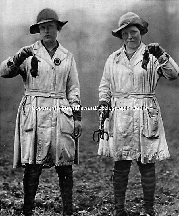 Holding the Home Front<br /> The Women's Land Army in the First World War book by Pen and sward<br /> <br /> Within days of the start of the First World War there were calls for women to come to the fields, but it would be almost three years before the Women's Land Army was established. In that time though, various private and public initiatives would be launched to pull women onto the land. The Women's Land Army would be shaped as much by the successes and failures of these earlier enterprises as by the precise requirements of 1917. It was a process of evolution, not revolution, and agricultural policy had also evolved over the course of the first three years of the war. By the spring of 1917 farmers were being called upon to plough out, to push back the borders and extend the cultivated acreage back to the highs of the 1870s. Agriculture would thus need most labour just as it had least available. Britain's food security had never looked most precarious than it did at the start of 1917.<br /> <br /> Photo Shows Women mole catchers on an estate in the Cotswolds, Illustrated War News, 10 April 1918.<br /> ©Pen and sward/Exclusivepix Media