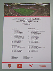 LONDON, ENGLAND - Friday, March 4, 2016: The official team sheet before the FA Youth Cup 6th Round match between Arsenal and Liverpool at the Emirates Stadium. (Pic by Paul Marriott/Propaganda)