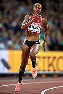 Great Britain, London - 2017 August 10: Sarah Atcho from Switzerland competes in women's 200 meters qualification during IAAF World Championships London 2017 Day 7 at London Stadium on August 10, 2017 in London, Great Britain.<br /> <br /> Mandatory credit:<br /> Photo by © Adam Nurkiewicz<br /> <br /> Adam Nurkiewicz declares that he has no rights to the image of people at the photographs of his authorship.<br /> <br /> Picture also available in RAW (NEF) or TIFF format on special request.<br /> <br /> Any editorial, commercial or promotional use requires written permission from the author of image.