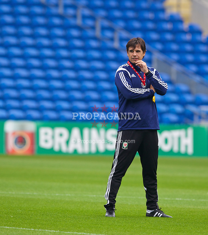 CARDIFF, WALES - Wednesday, September 3, 2014: Wales' manager Chris Coleman training at the Cardiff City Stadium ahead of the opening UEFA Euro 2016 qualifying match against Andorra. (Pic by David Rawcliffe/Propaganda)