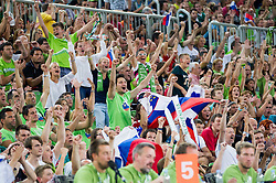 Supporters of Slovenia during friendly basketball match between National Teams of Slovenia and Brasil at Day 2 of Telemach Tournament on August 22, 2014 in Arena Stozice, Ljubljana, Slovenia. Photo by Vid Ponikvar / Sportida