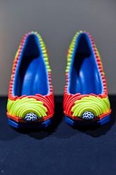 © Licensed to London News Pictures. 17/02/2016. London, UK. Chengxu Tian's shoe creations on show at the London College of Fashion MA16 exhibition in Holborn which opened today.  The event features student work from across LCF's postgraduate courses and reveals visions and pieces from the next generation of fashion designers, artists, business professionals and media makers.. Photo credit : Stephen Chung/LNP