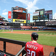 NEW YORK, NEW YORK - July 10: Daniel Murphy #20 of the Washington Nationals surveys Citi Field before heading out of the dugout  to bat during the Washington Nationals Vs New York Mets regular season MLB game at Citi Field on July 10, 2016 in New York City. (Photo by Tim Clayton/Corbis via Getty Images)