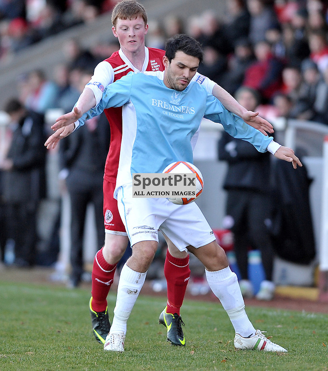 Michele Lombardi (Deveronvale, blue) and Stephen Day..Stirling Albion v Deveronvale, William Hill Scottish Cup Third Round, 3rd November 2012..(c)  Alex Todd | StockPix.eu