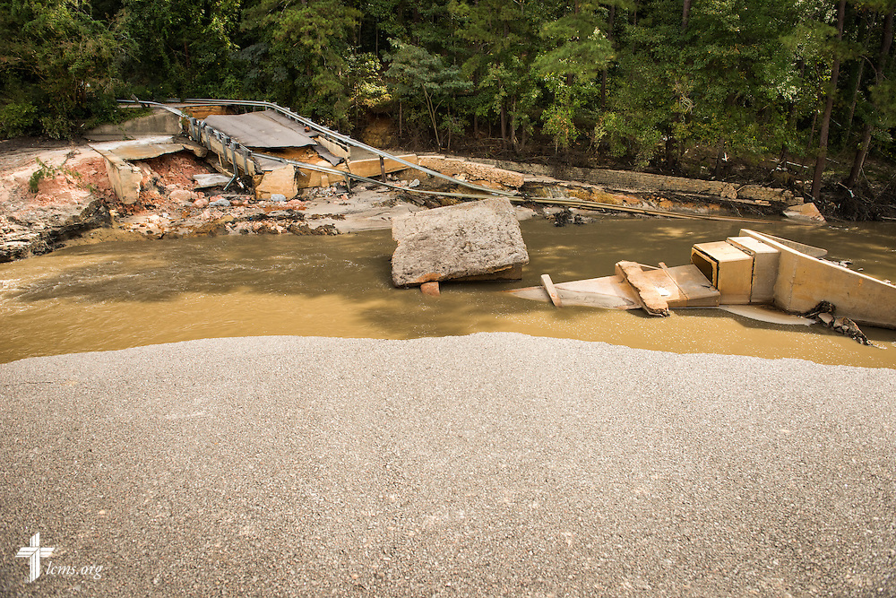 A dam is wiped out from recent flooding on Friday, Oct. 9, 2015, in Columbia, S.C. LCMS Communications/Erik M. Lunsford