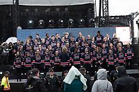 REGINA, SK - MAY 17: The choir at Mosaic Stadium on May 17, 2018 in Regina, Canada. (Photo by Marissa Baecker/Shoot the Breeze)