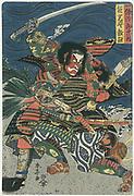 Samurai warriors Ichijo-Jiro-Tadanori and and Notonokami Noritsune in full armour fighting. Print c1820.   Shuntei Katsukawa (1770-c1833) Japanese artist. Warlike Fierce Threatening Weapon Sword