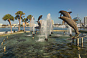 Skyline and Dolphin Fountain Bayfront Park Sarasota, Florida