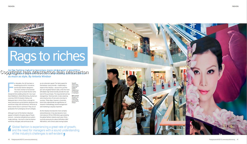 "British Council publication ""Postgraduate UK""; Shopping mall in China"