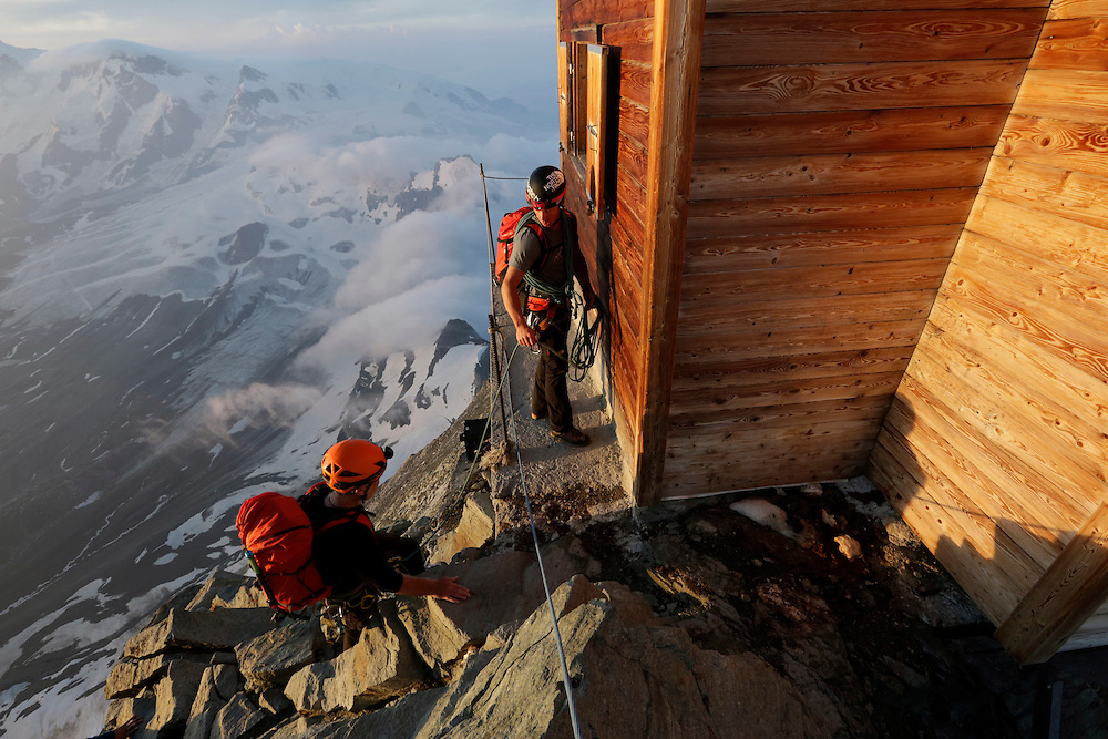 Alpinists at Solvay hut.<br /> <br /> &ldquo;Matterhorn 150 years Cervino&rdquo; - The year 2015 is the 150th Anniversary of the first ascent by Edward Whymper from the Swiss side (14th July) and by Jean Antoine Carrel from the Italian side on the 17th July 1865.<br /> <br /> On 17th July 2015 a friendship convention was signed by the members of Swiss, French, British and Italian climbing teams. A ceremony was held at the summit in honour of the mountain.