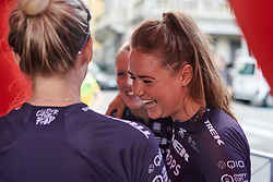 Abby-Mae Parkinson (GBR) laughs with her teammates at Giro Rosa 2018 - Team Presentation in Verbania, Italy on July 5, 2018. Photo by Sean Robinson/velofocus.com