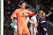 Milton Keynes Dons goalkeeper Lee Nicholls (1) organising his defenders during the EFL Sky Bet League 1 match between Milton Keynes Dons and Portsmouth at stadium:mk, Milton Keynes, England on 10 February 2018. Picture by Dennis Goodwin.