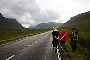 Viking horn helmet friends on pagan fertility Wassail walk rite, from Glasgow through Glencoe.